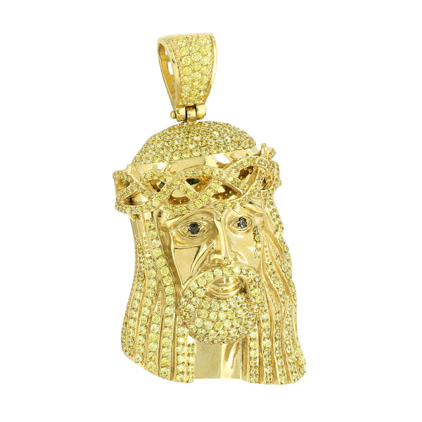 Jesus Pendant Gold Over Stainless Steel Canary With Chain