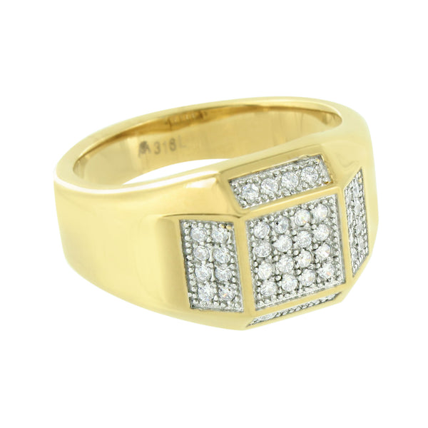 Gold Finish Wedding Ring Mens Simulated Diamonds Stainless Steel Pave Set Classy
