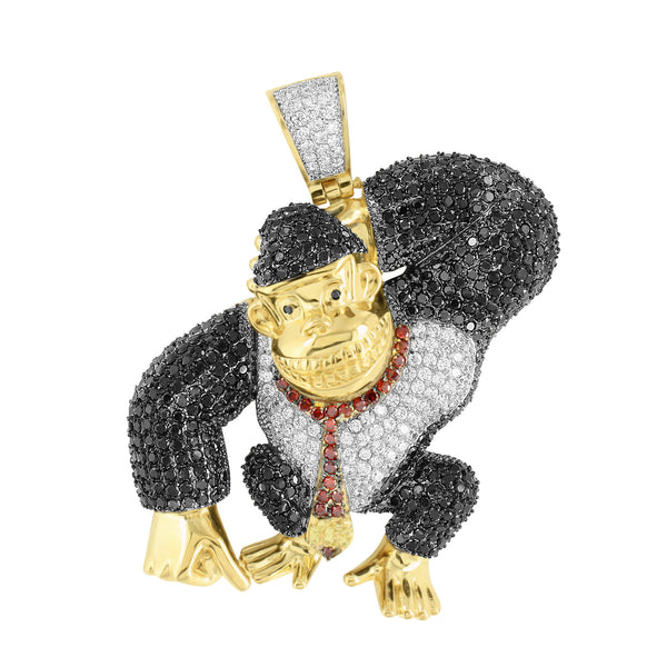 Video Game Character Ape Pendant Gold Stainless Steel Multi Color With Chain