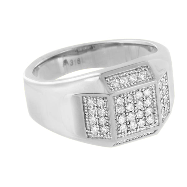 Stainless Steel Mens Ring Simulated Diamonds Pave Set Elegant Engagement Wedding