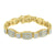 Mens Bracelet Stainless Steel 14K Yellow Gold Finish Simulated Diamonds 14 MM