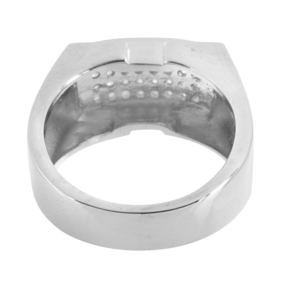 Simulated Diamonds Ring Wedding Stainless Steel Engagement Mens Party Wear 13 MM