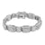 Mens Designer Bracelet Simulated stone 14K White Gold Stainless Steel