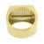 Mens Wedding Ring Stainless Steel Simulated Diamonds Engagement Gold Finish New