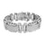 Mens Bracelet 14k White Gold Over Solid Stainless Steel Brand Simulated Diamond