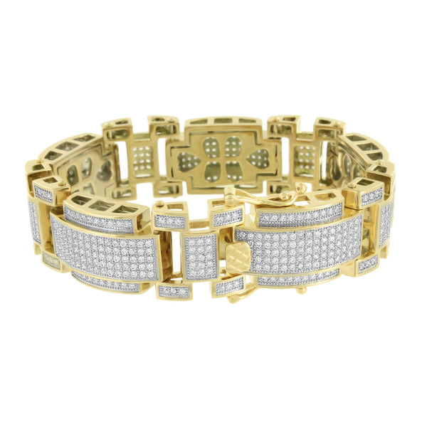 14K Gold Finish Bracelet Lab Diamonds Micro Pave Stainless Steel 316 Mens Custom