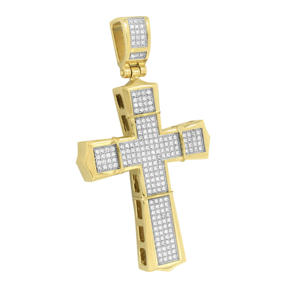 Gold Finish Cross Pendant Jesus Charm Stainless Steel