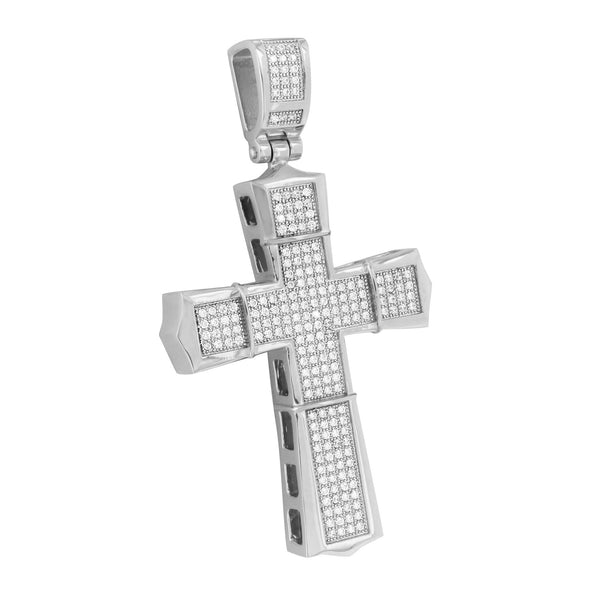 Mens Jesus Cross Pendant Custom White Finish With Chain