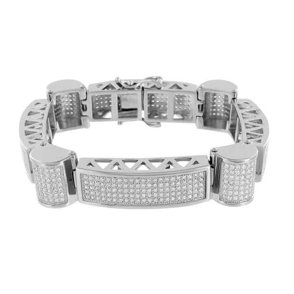 Mens White Gold Bracelet Lab Diamonds 14K Finish Solid Stainless Steel Dome Link