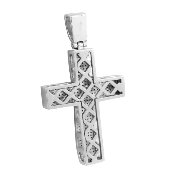 Mens Stainless Steel Cross Pendant White
