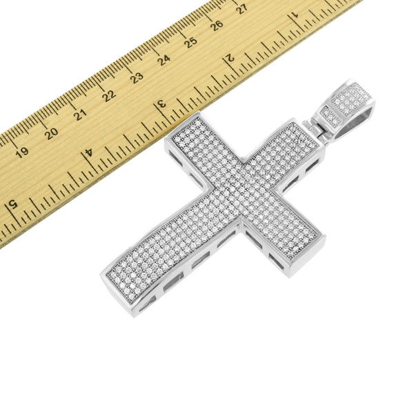 Mens Stainless Steel Cross Pendant White Gold Finish With Chain
