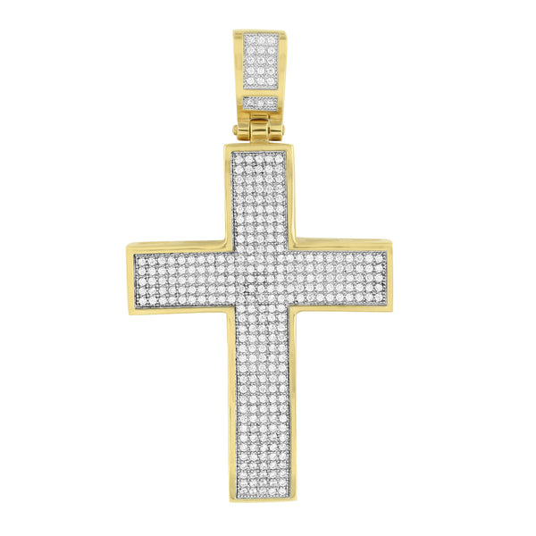 Gold Finish Cross Pendant Stainless Steel Micro Pave Set Mens Celeb Wear With Chain