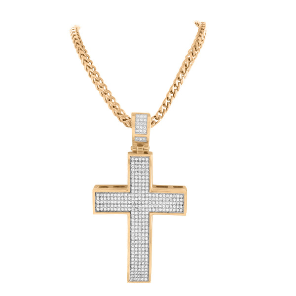 Men Rose Gold Cross Pendant Stainless Steel With Chain