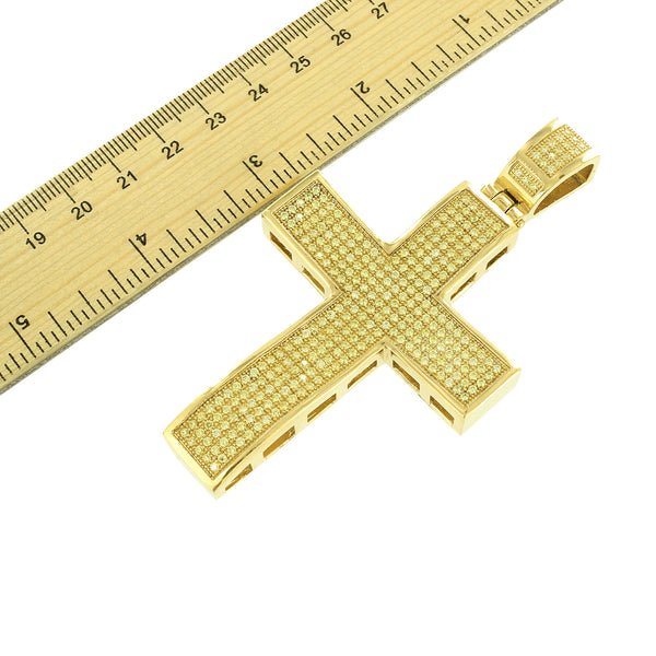 Cross Pendant Gold Over Stainless Steel Mens Celeb Wear Chain Set