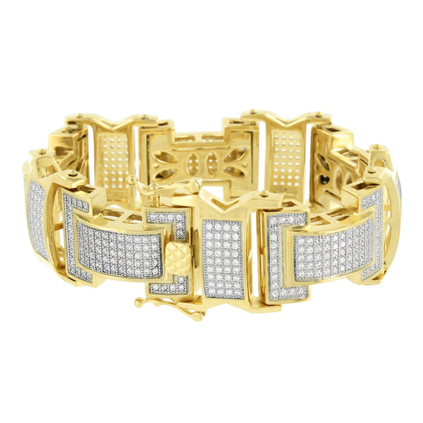 Stainless Steel Bracelet Mens 14K Yellow Gold Finish Lab Diamonds Micro Pave New
