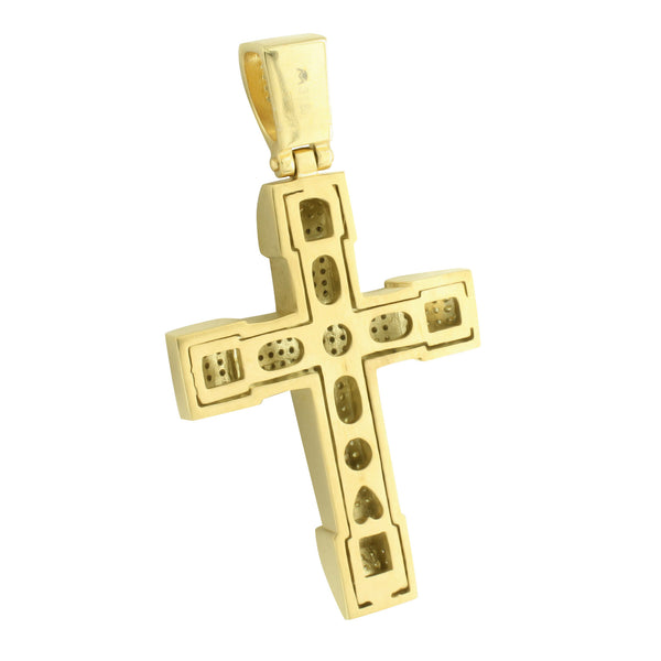Mens Cross Pendant Jesus Gold Crucifix Canary With Chain