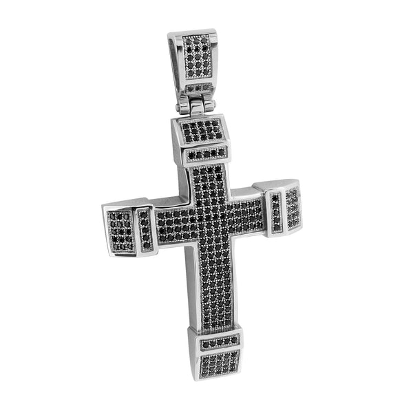 Jesus Christ Cross Pendant Black Gold Finish With Chain