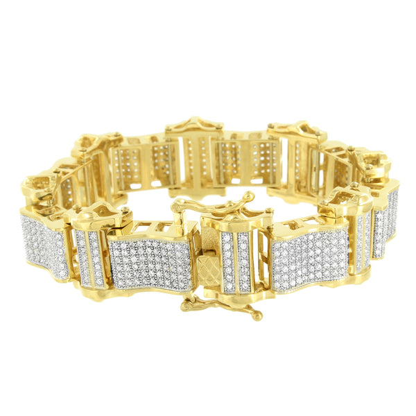 Mens Stainless Steel Bracelets 14k Yellow Gold Finish Lab Diamonds Brand New 9