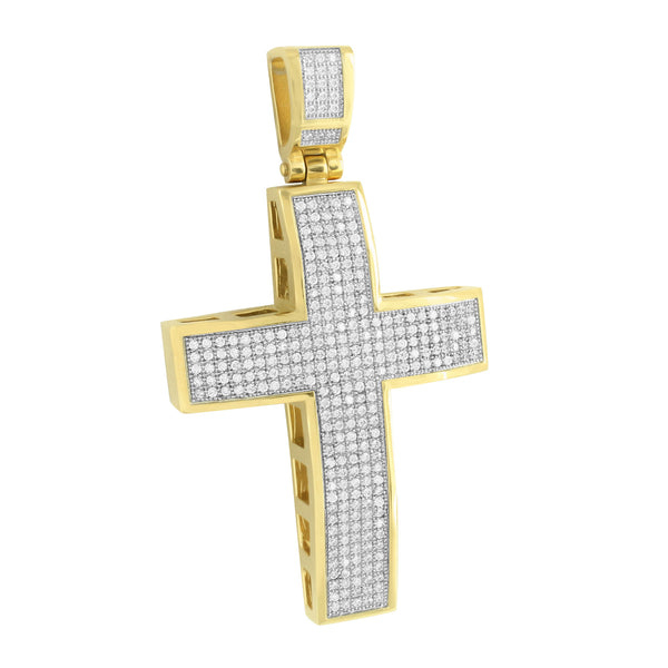 Gold Finish Jesus Cross Pendant Pave Set