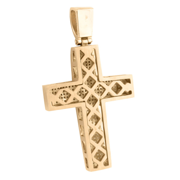Rose Gold Finish Cross Pendant Chain Set