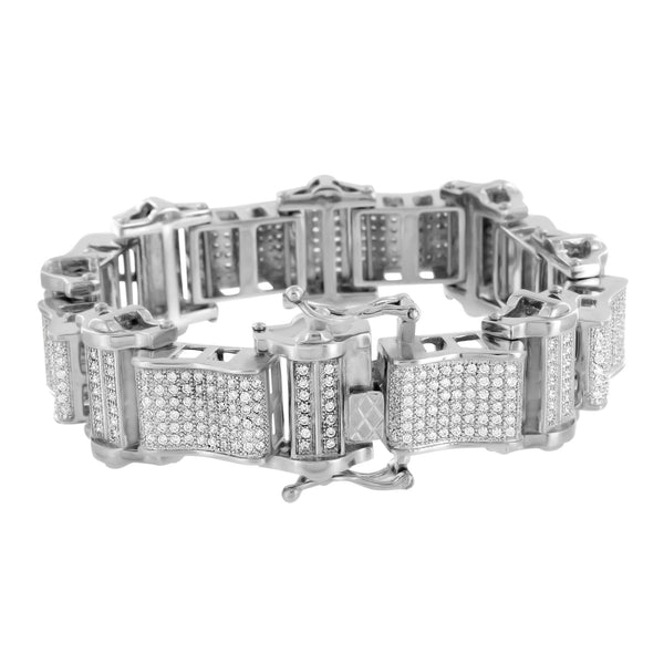 Stainless Steel Bracelets For Men On Sale 14K White Gold Finish Lab Diamonds New
