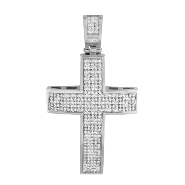 Mens Cross Crucifix Pendant Jesus Charm White Gold Finish With Chain
