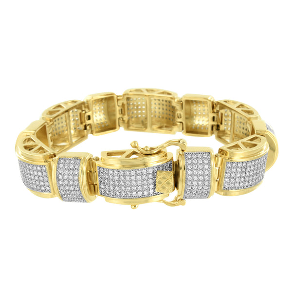 Mens Gold Finish Bracelet Over Solid Stainless Steel Micro Pave Lab Diamond 9.5
