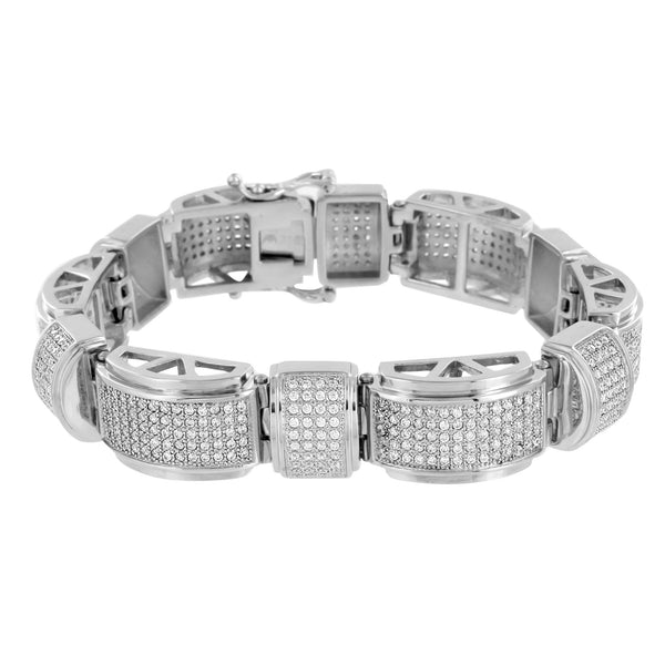 White Gold Finish Bracelet For Mens On Sale 316 Stainless Steel Lab Diamond 16mm