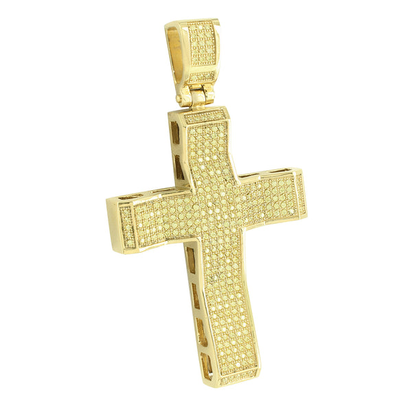Stainless Steel Cross Pendant Yellow Gold Finish With Chain