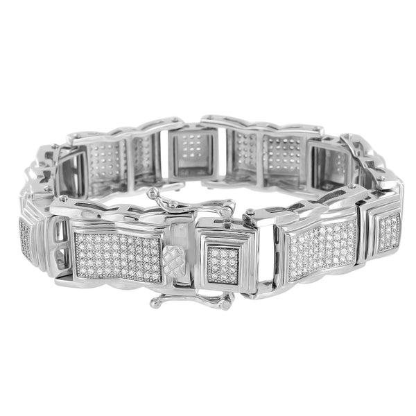 Mens Stainless Steel Bracelet Lab Diamonds 14K White Gold Finish 9 Inch Custom