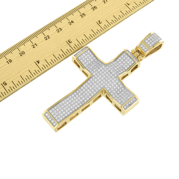 Mens Stainless Steel Jesus Cross Pendant Yellow Gold Finish Charm