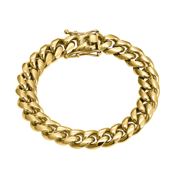 Men's Designer Stainless Steel 14k Gold Finish 12mm Miami Cuban Link Bracelet New
