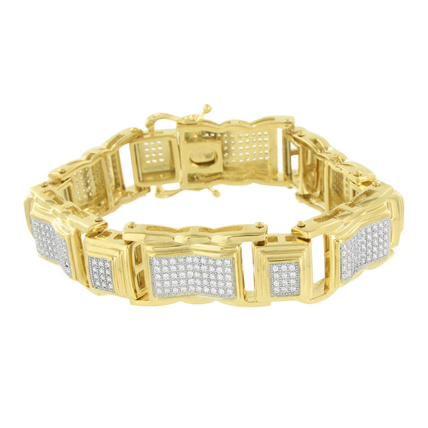 Stainless Steel Bracelet On Sale For Mens 14k Yellow Gold Finish Lab Diamonds