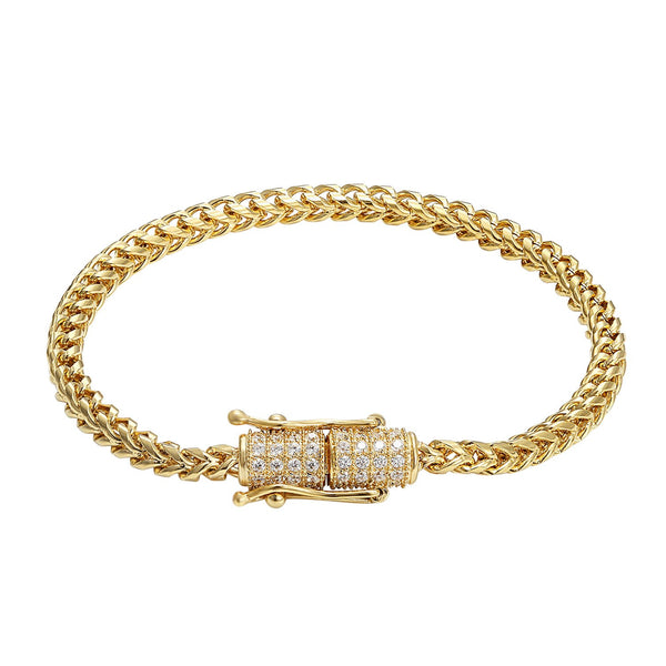 Stainless Steel 14k Gold Finish Franco Link Bracelet Designer Bling Lock