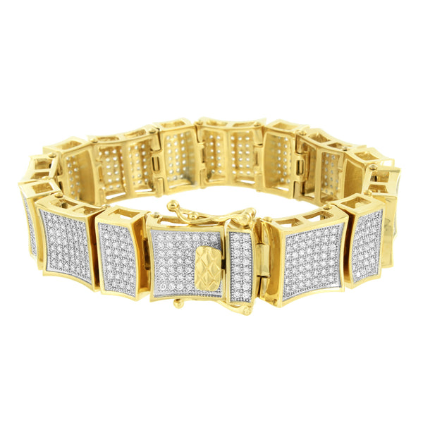 14K Gold Finish Bracelet Stainless Steel 316 Lab Diamonds Pave Kite Design Links