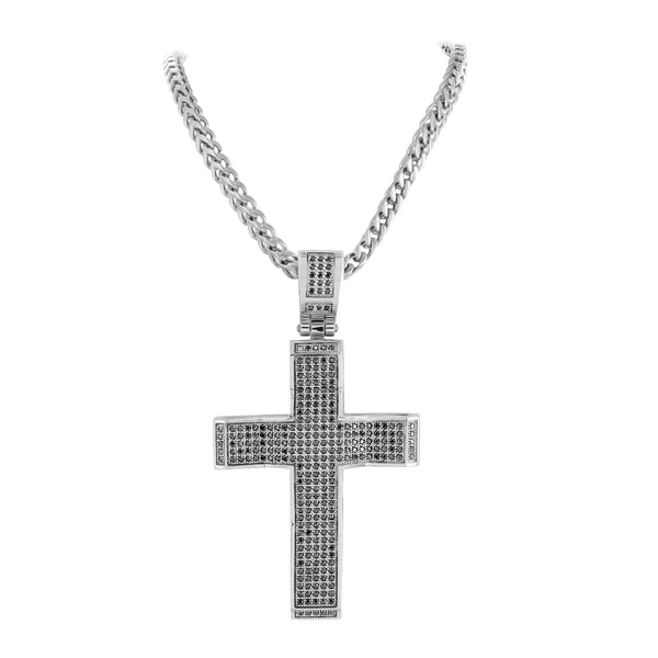 Mens Designer Cross Pendant Custom Black Gold Finish With Chain