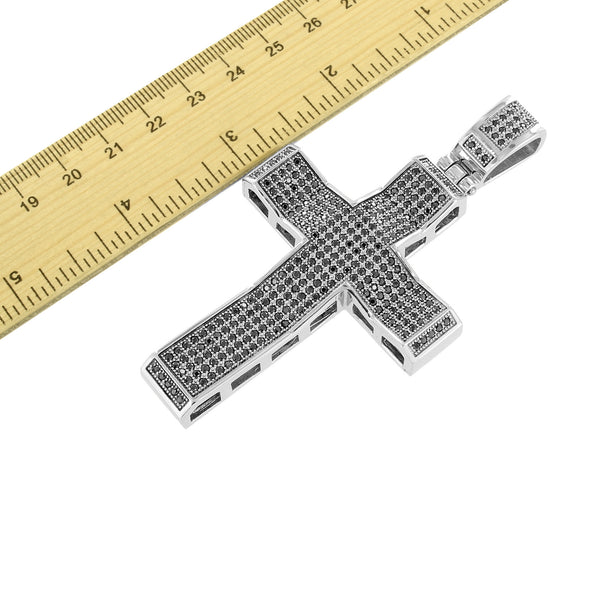 Mens Designer Cross Pendant Custom Black