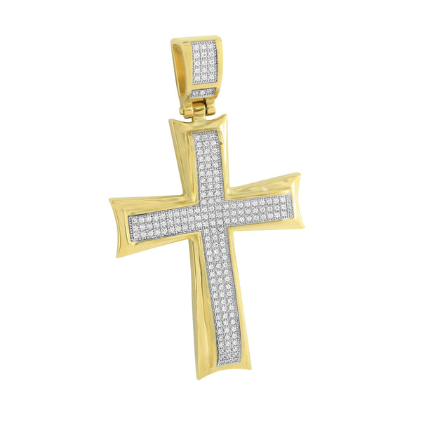 Classy Gold Finish Cross Pendant Stainless Steel Jesus Charm