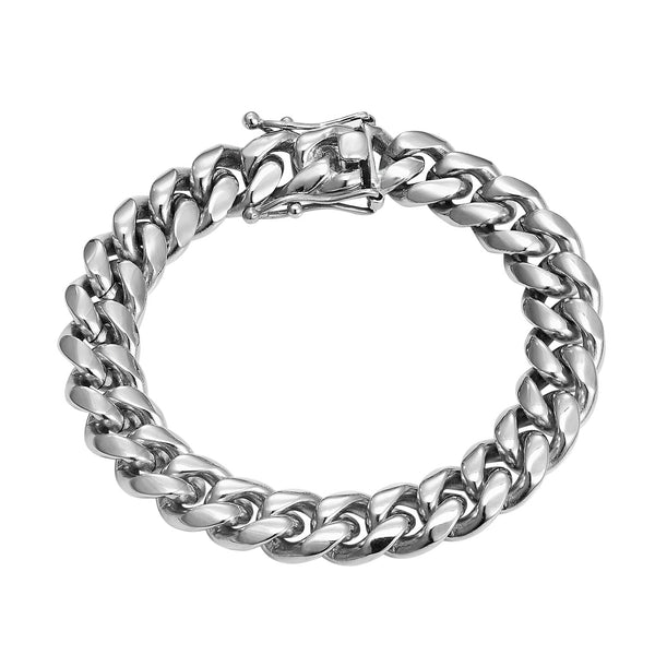 Men's Designer Stainless Steel 14k White Gold Finish 10mm Miami Cuban Link Bracelet New