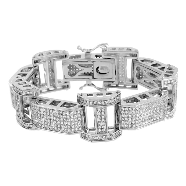 Mens Hip Hop Bracelet 14k White Gold Over Stainless Steel Iced Out lab Diamonds
