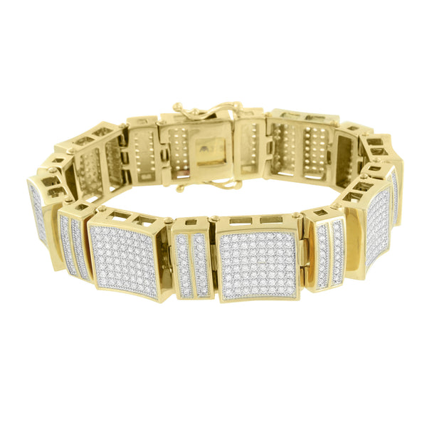 Lab Diamonds Mens Bracelet Stainless Steel Micro Pave Gold Finish 18 MM Designer