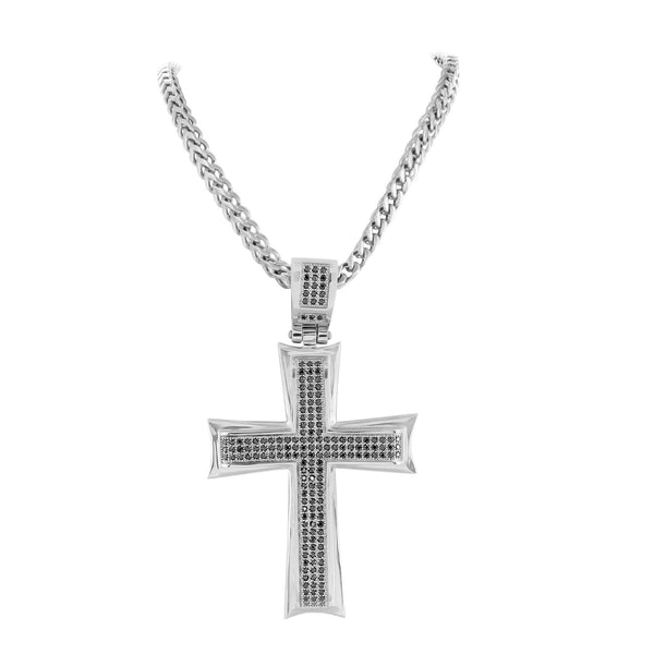 Mens Stainless Steel Cross Pendant Black Finish With Chain