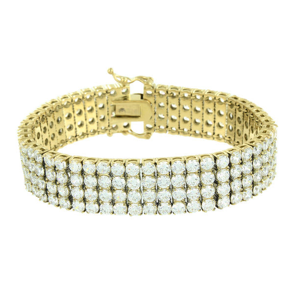 Stainless Steel Mens Bracelet 4 Row Round Cut Lab Diamond 14k Gold Finish Classy