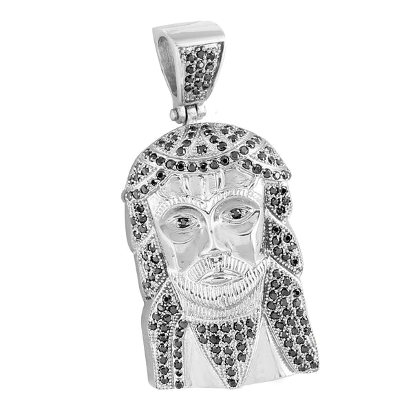 Stainless Steel Jesus Face Charm Black