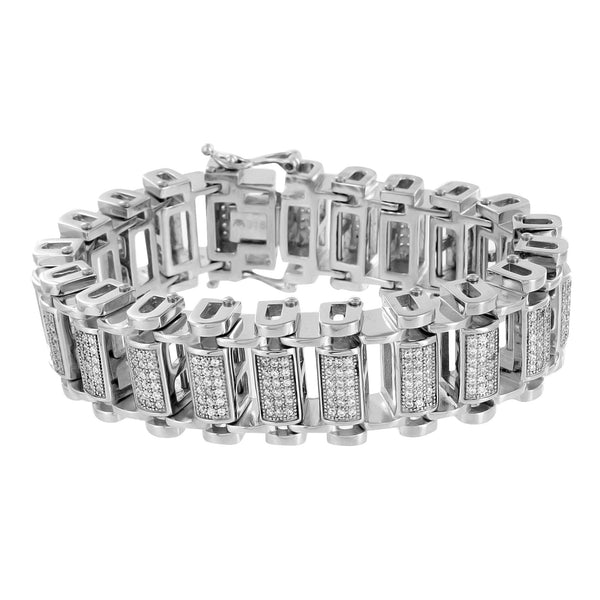 Motorbike Chain Link Bracelet White Gold Over Stainless Steel Lab Diamonds 8.5IN -2129
