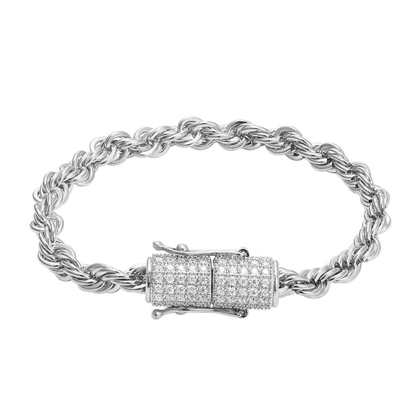 Stainless Steel 14k White Gold Finish 6mm Rope Bracelet Designer New Bling Lock