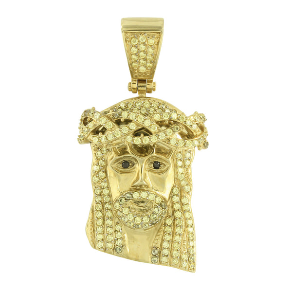 Mens Jesus Face Pendant Round Cut