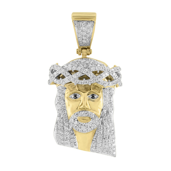 Mens Gold Finish Jesus Pendant Stainless Steel