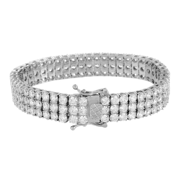 Stainless Steel Bracelet White Gold Finish 14K Mens 3 Row Round Cut Lab Diamonds