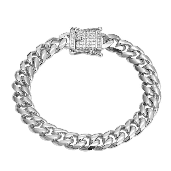Men's Stainless Steel 14k White Gold Finish Miami Cuban Link 10mm Bracelet New Iced Out Lock